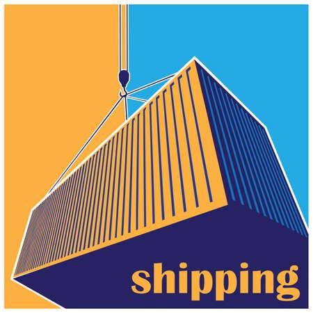 dockyard: stylized illustration on logistics and freight transport.  Illustration