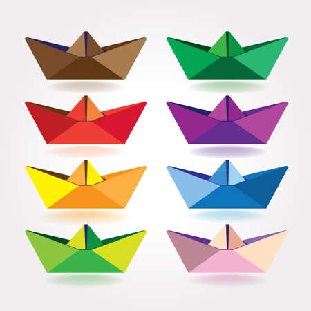 set of stylized colored paper boats. can be used in a variety of tasks and projects such as advertising, animation, printed matter, etc.