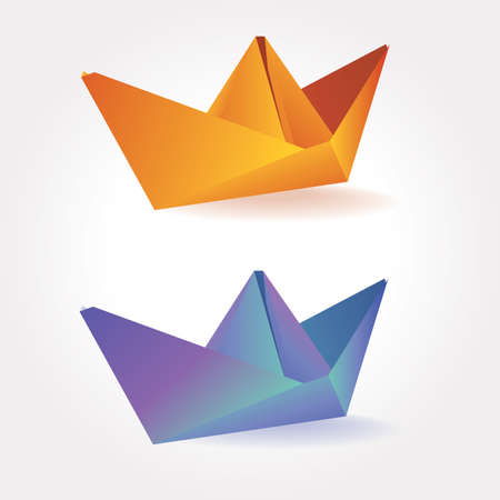 printed matter: set of stylized colorful paper boats. can be used in a variety of tasks and projects such as advertising, animation, printed matter, etc. Illustration