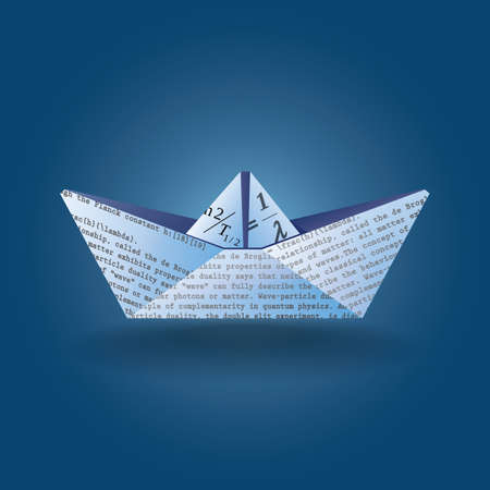 Stylized illustration of a paper boat made from a page with text scientific content. can be used in a variety of tasks and projects such as advertising, animation, as a symbol,  printed matter, etc. Stock Illustratie