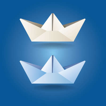 set of stylized paper boat in soft colors. can be used in a variety of tasks and projects such as advertising, animation, printed matter, etc.