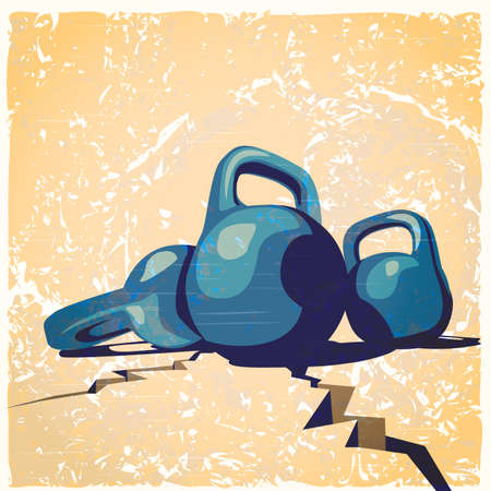 sports symbols metaphors: illustration on the theme of weightlifting, fitness, bodybuilding with stylized old poster, photo, old school. Illustration