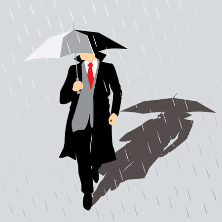 Stylized illustration of a man in a coat with the umbrella in the rain. minimalist flat design style. can be used for advertising, illustrations, etc. Vector