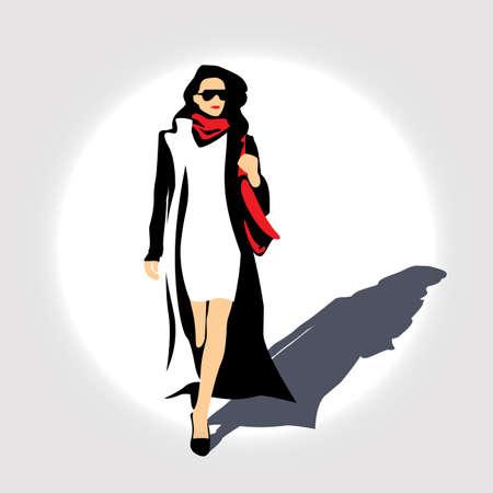 minimalist design: Stylized illustration of a minimalist design. business woman with a red handbag.