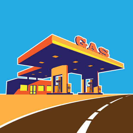Stylized vector illustration on the theme of modern petrol station on the highway