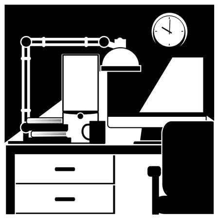 estação de trabalho: ilustra��o do vetor. composi��o sobre o tema do ambiente de trabalho. esta��o de trabalho do desktop Ilustra��o