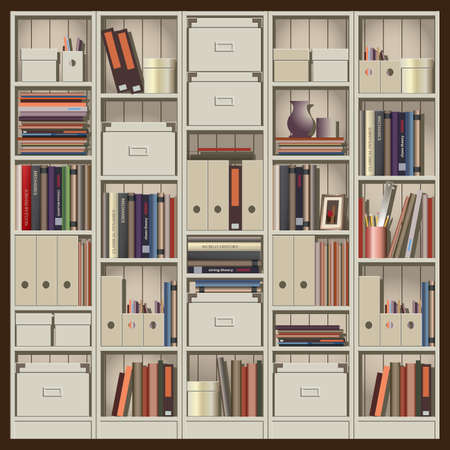 trifles: seamless horizontal vector illustration. composition shelves with books, files and other trifles. can be used as a background illustration of an animation, etc.
