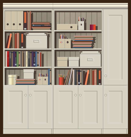 trifles: seamless horizontal vector illustration. composition of cabinets with books, files and other trifles. can be used as a background illustration of an animation, etc.