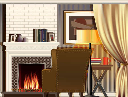 fireplace: stylized composition on the theme of the room with a fireplace. can be used in your design, advertising, animation etc. file has layers for easy editing Illustration