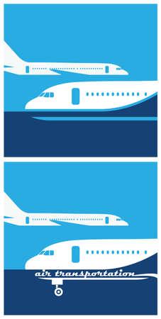 air traffic: estilizada ilustraci�n sobre el tema del tr�fico a�reo, vuelos, aviaci�n Vectores