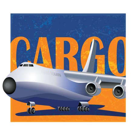 air freight: rivista stilizzato copre composizione con un grosso aereo cargo. trasporto aereo di merci e logistica