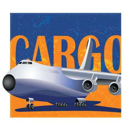 air freight: stylized magazine covers composition with a large cargo aircraft. air freight and logistics