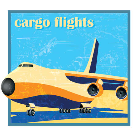 stylized as old poster or card vector illustration of a large cargo plane on takeoff Vector