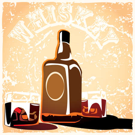 scotch whisky: stylized illustration of a bottle of whiskey and  glasses with ice cubes with the effect of old films or poster Illustration