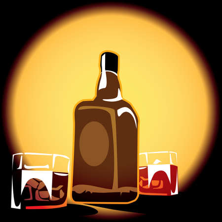 bourbon whisky: stylized illustration of a bottle of whiskey and  glasses with ice cubes with the effect of backlit