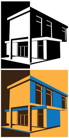 blockhouse: vector illustration of a stylized modern block house in two color interpretations