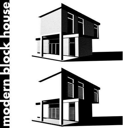 blockhouse: vector illustration of a stylized modern block house in two versions Illustration