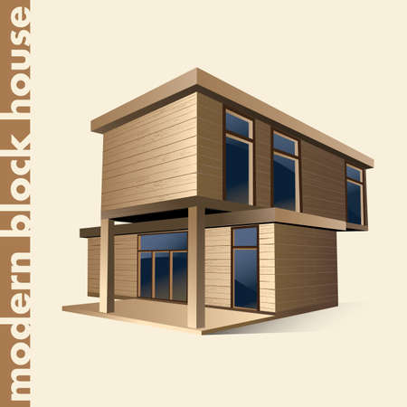 blockhouse: vector illustration of a modern block house. can be used for printed products, advertising, web design, as a symbol, etc.