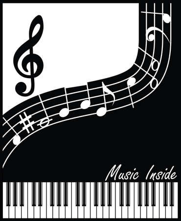 interpretation: abstract vector composition on a musical theme in black and white interpretation