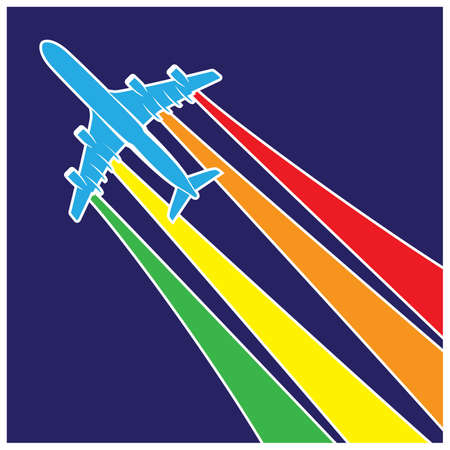 vapor trail: Stylized vector illustration on the theme of aviation. plane with vapor trail in rainbow colors Illustration