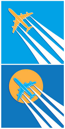 vapor trail: Stylized vector illustration on the theme of aviation. two versions of the plane with vapor trail in the sky