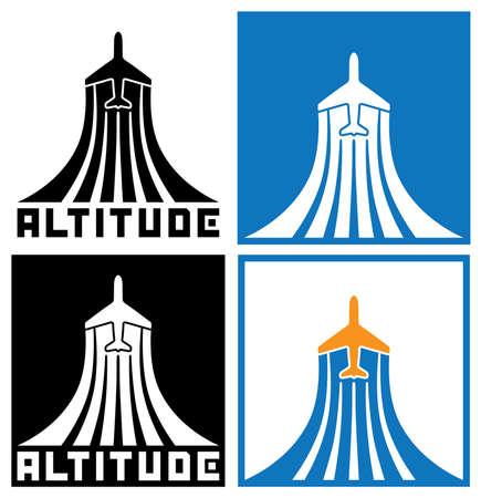 air traffic: logotipo en el tema de la aviaci�n, aviones, el tr�fico a�reo. se puede utilizar en una variedad de casos, tanto como parte de logotipo de la empresa, y ambos s�mbolo individual o signo