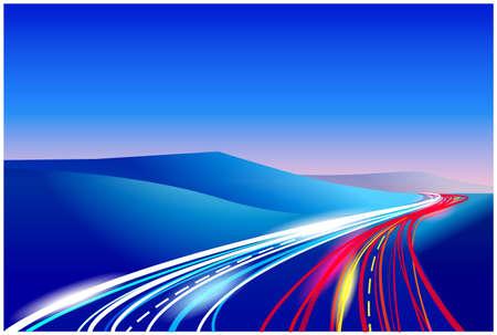 fibra ottica: stilizzata illustrazione vettoriale della strada. pu� essere utilizzato in una variet� del vostro lavoro, illustrazione da autostrade per illustrare l'opera di linee in fibra ottica nelle telecomunicazioni e reti, etc.
