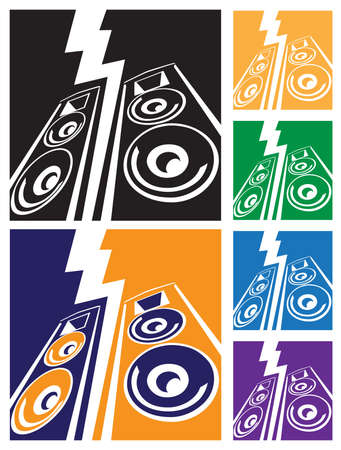 speaker system: Stylized vector illustration on the theme of music and powerful sound. speaker system with lightning. can be used as a sign, symbol or icon