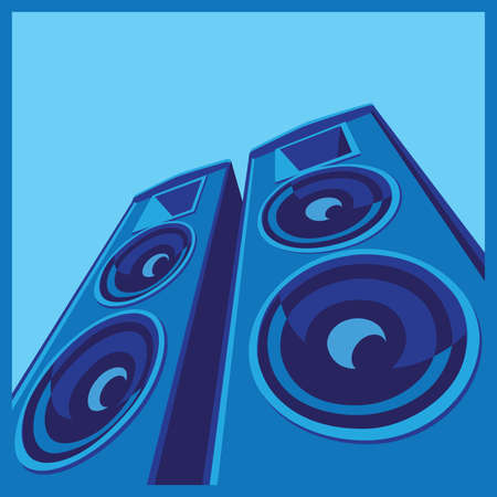 stylized vector illustration on the theme of music and sound. powerful speaker system