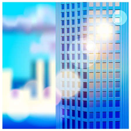 rising sun: ilustraci�n vectorial de los rascacielos en los rayos del sol naciente Vectores