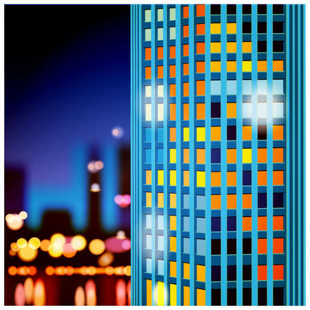 city lights: vector illustration of a skyscraper on a background of the night city lights