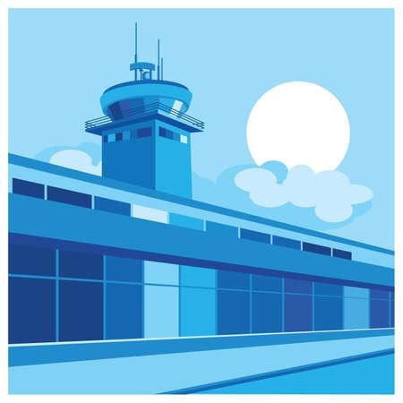 air traffic: estilizada ilustraci�n sobre el tema del aeropuerto, el tr�fico a�reo, etc. Vectores