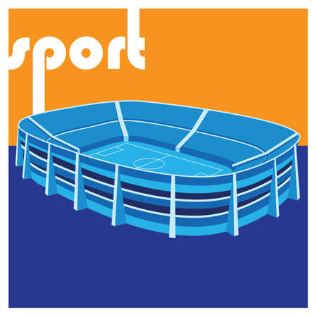 stylized illustration on the theme of sport. stadium Çizim