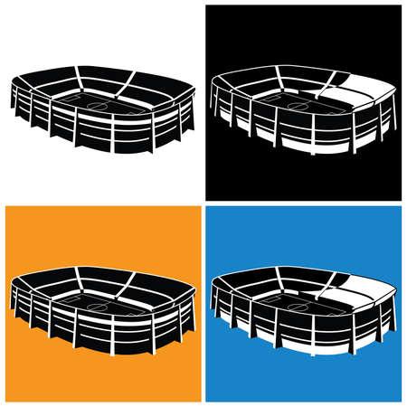 Gestileerde vector illustratie op het thema van sport, sportwedstrijden, team en andere evenementen in verschillende varianten