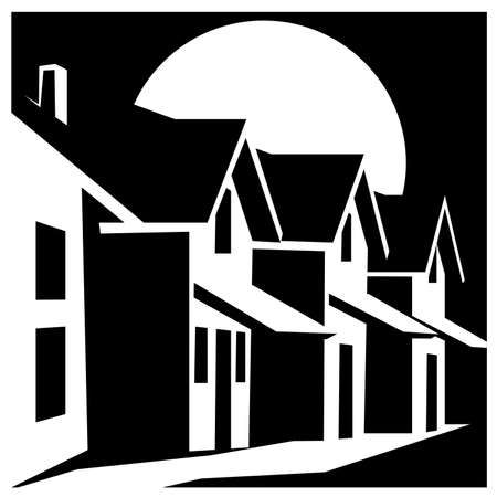 stately: Stylized vector illustration on the theme of of real estate. town houses Illustration