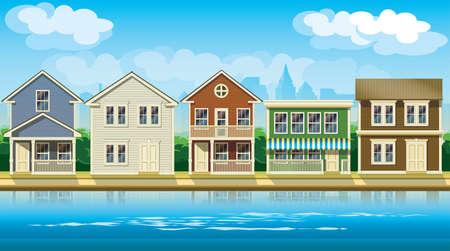 townhouses: ilustraci�n vectorial estilizada sin fisuras horizontalmente sobre el tema c�modas caba�as suburbio. Vectores