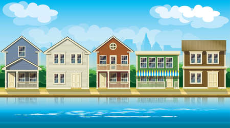 suburban home: stylized vector illustration seamless horizontally on the theme comfortable cottages suburb.