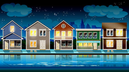 suburb: stylized vector illustration seamless horizontally on the theme comfortable cottages suburb at night. Illustration