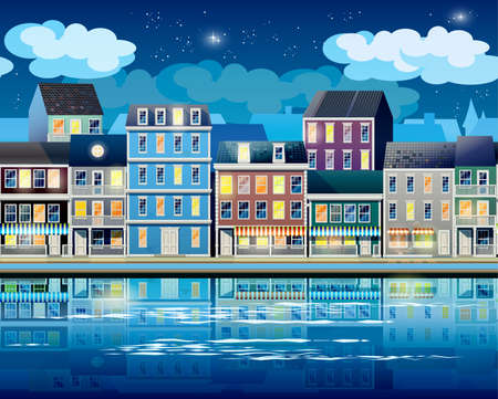 coastal: stylized, seamless horizontal vector illustration on the theme of the old town at night, the promenade, the coastal area, the ports Old Town. can be used for different tasks in your work