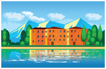 waterfront: Stylized vector illustration on the theme of the real estate and country houses. European mansion in the mountains, on the waterfront. illustration seamless horizontally if needed