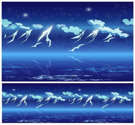 winter range: mountains at night under the stars Illustration