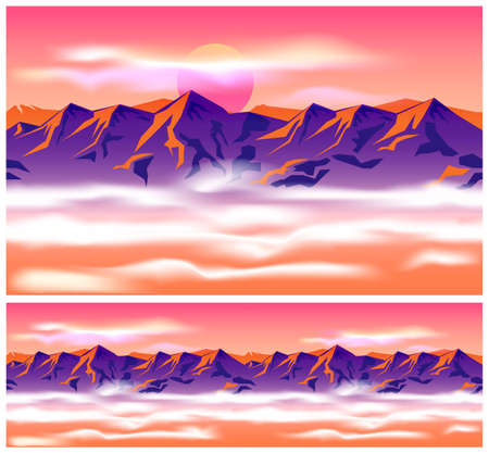 ranges: Stylized vector illustration on the theme of mountains, mountain ranges, traveling and wandering. mountain peaks in the clouds. image seamlessly horizontally if needed