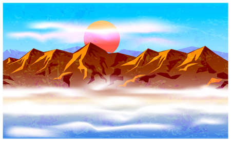 haze: Stylized vector illustration on the theme of mountain ranges, mountains, traveling and wandering. mountain peaks in the haze and clouds. seamless horizontally if needed
