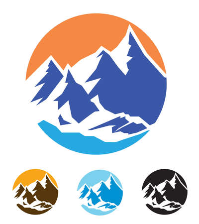 Stylized vector illustration on the theme of mountains, nature, travel. mountaineering. mountain peaks