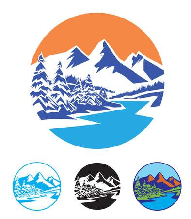 自然、アウトドア、旅行、観光のテーマの様式化された図。