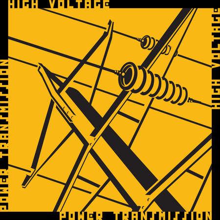 Gestileerde vector illustratie op het thema van hoogspanningsleidingen, industriële, symbolen van de energiesector