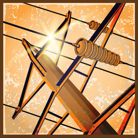 industry poster: vector illustration of a stylized effect of old films or poster on the theme of high voltage power lines, industry, symbols of the energy sector