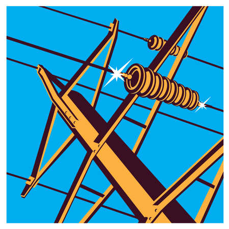 sector: Stylized vector illustration on the theme of high voltage power lines, industrial, symbols of the energy sector Illustration