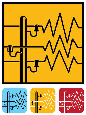 sector: Stylized vector illustration on the theme of the high-voltage power lines, the energy sector. icons, warning signs, a symbol of high voltage or danger
