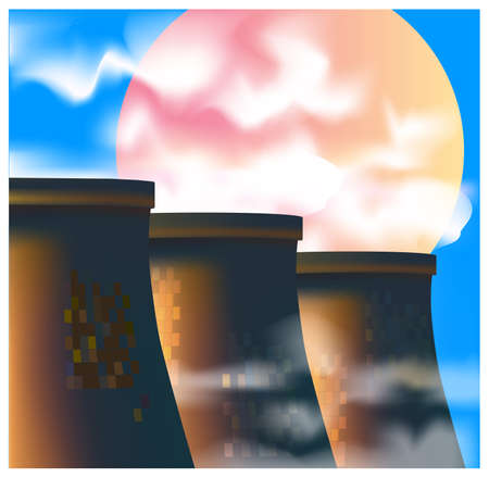 heavy industry: Stylized vector illustration on an industrial theme. energy sector and heavy industry Illustration